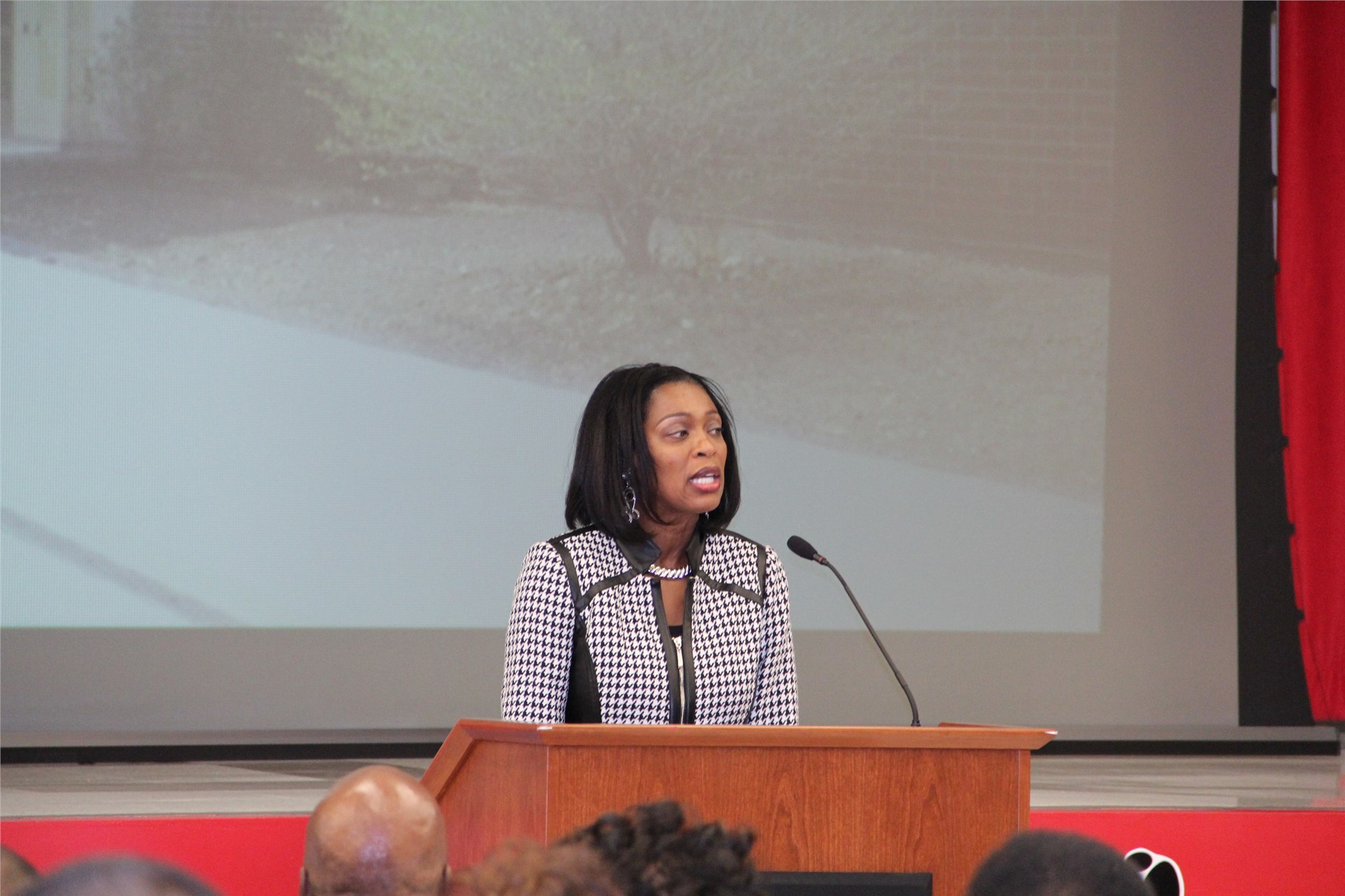 Superintendent Dr. Sheila Williams speaking at Jesse White Learning Academy ribbon cutting ceremony