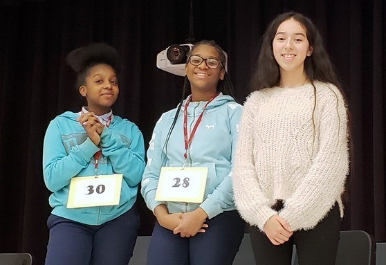 Tamia Kelly (1st pl.), Naila Kelly (2nd pl.) and Frida Flores (3rd pl.) take top honors at the Annual District Spelling Bee