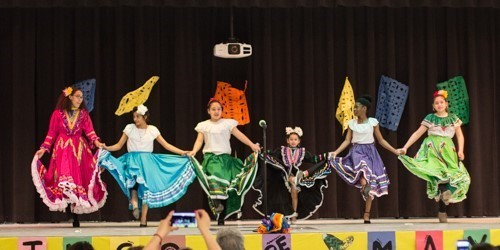 Students perform a traditional cultural dance in honor of Cinco De Mayo