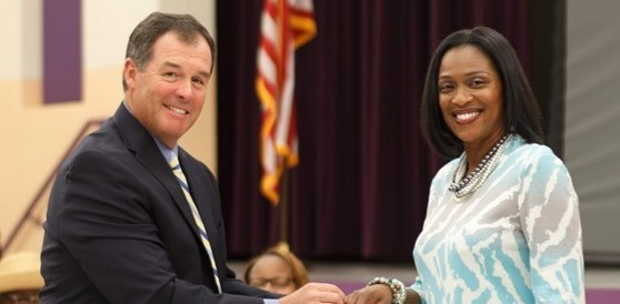 Dr. Williams is recognized during School Board meeting as the new president of IASA