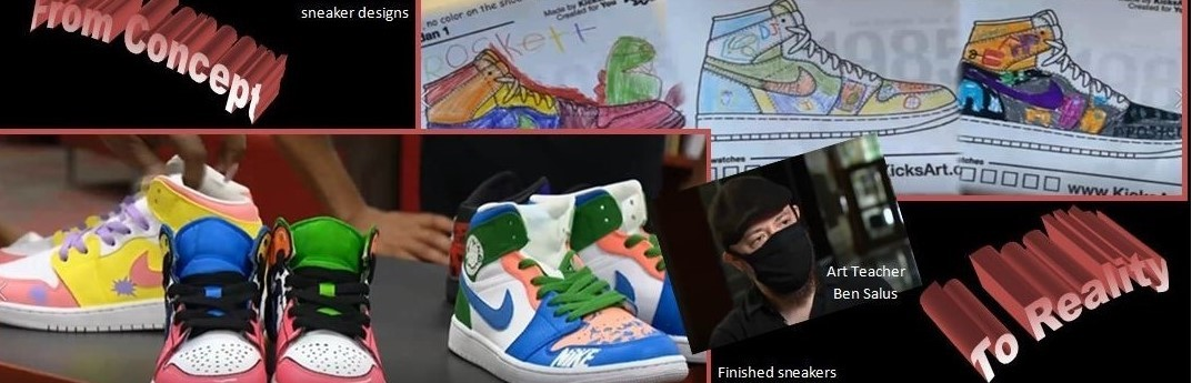 JWLA students design sneakers in Mr. Salus's Art class and see the end result.